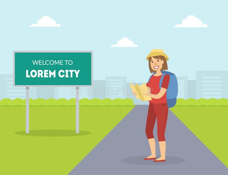 与背包和地图,设法的女孩的女性HitchhikerTraveling用手停止在高速公路的汽车,旅行由的人 向量例证