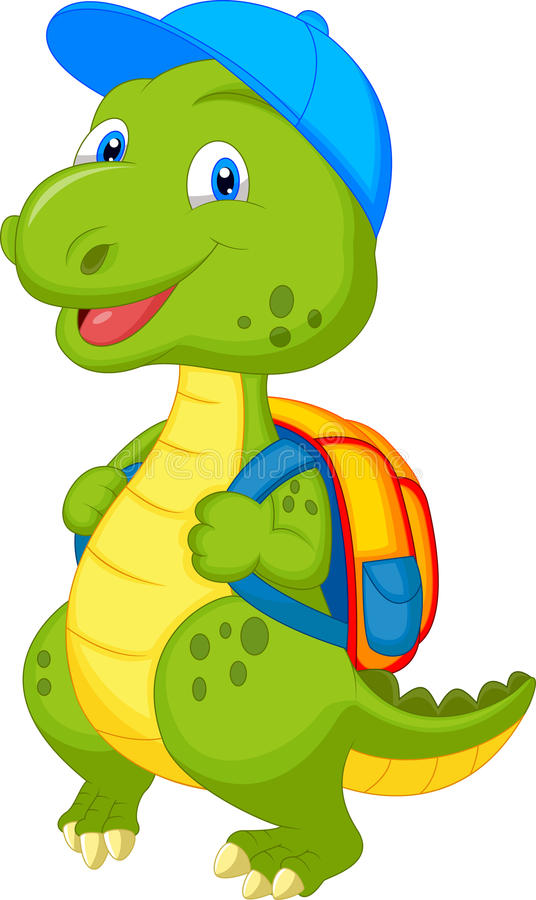 与背包的逗人喜爱的恐龙 向量例证