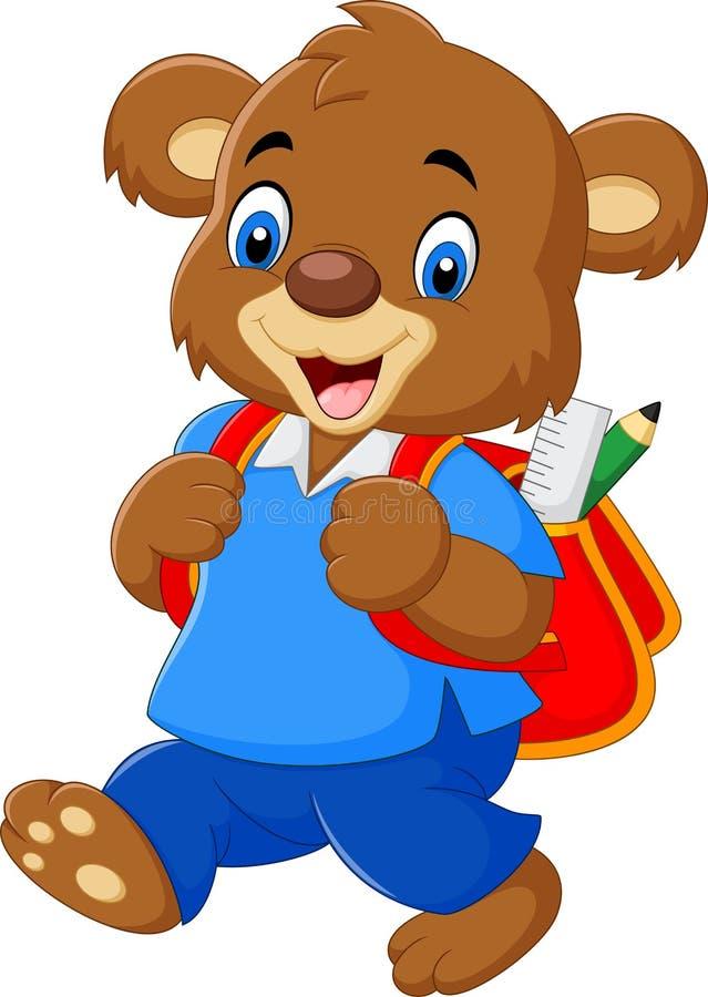 与背包的逗人喜爱的熊 向量例证