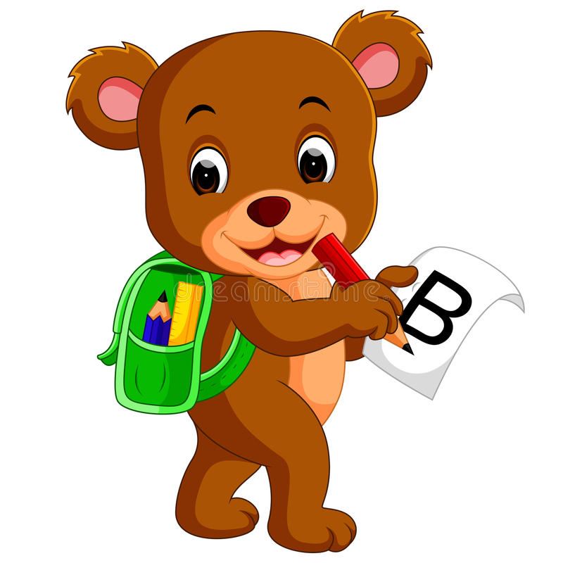 与背包的逗人喜爱的熊 皇族释放例证