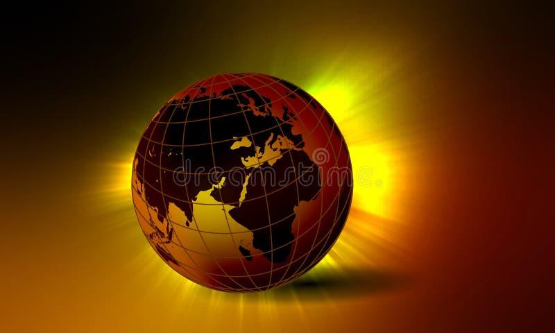 与背景明亮的光线影响的世界地球 r 皇族释放例证
