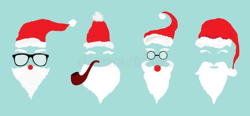 与胡子、玻璃和髭的圣诞老人 照片和贺卡的覆盖物设计 平的传染媒介例证 库存例证