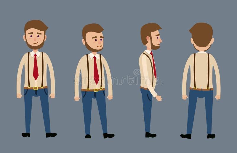 与胡子例证的动画片男性角色 库存例证