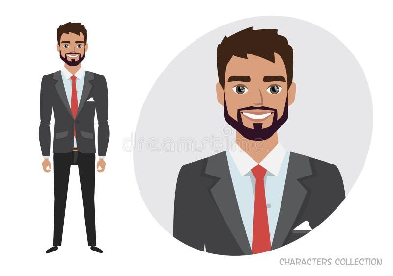 与胡子的商人在正式衣服 动画片商人全长画象  装配和动画的字符 皇族释放例证