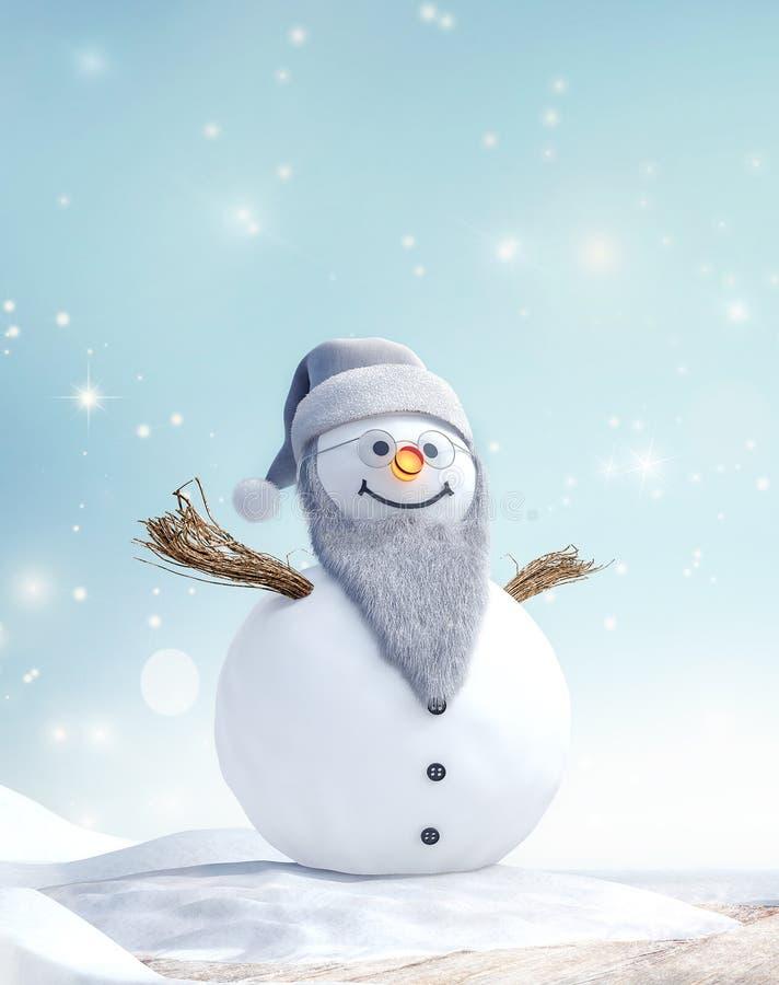与胡子的祖父在冬天风景的雪人和玻璃 库存照片