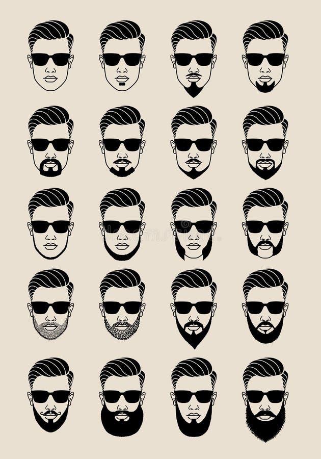 与胡子,用户,具体化,传染媒介象集合的面孔 库存例证