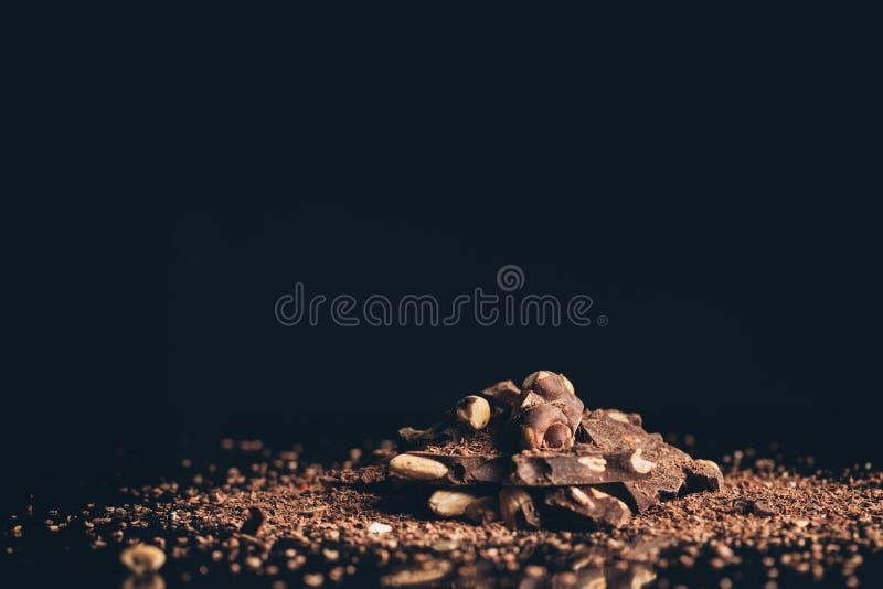 与胡说的片断的巧克力 免版税库存照片