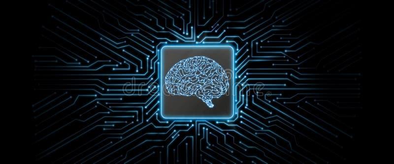 与脑子商标的摘要蓝色发光的电路板背景在中心 免版税库存照片