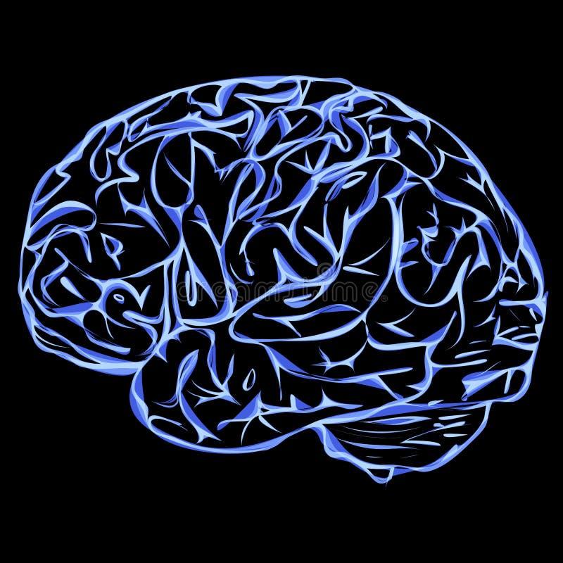与脑子概念蓝色传染媒介的背景 库存例证