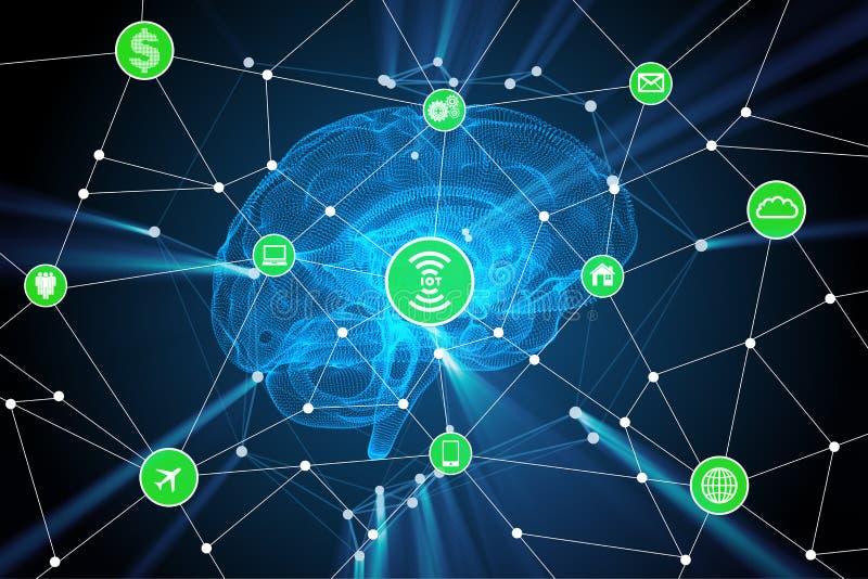 与脑子的人工智能概念 皇族释放例证