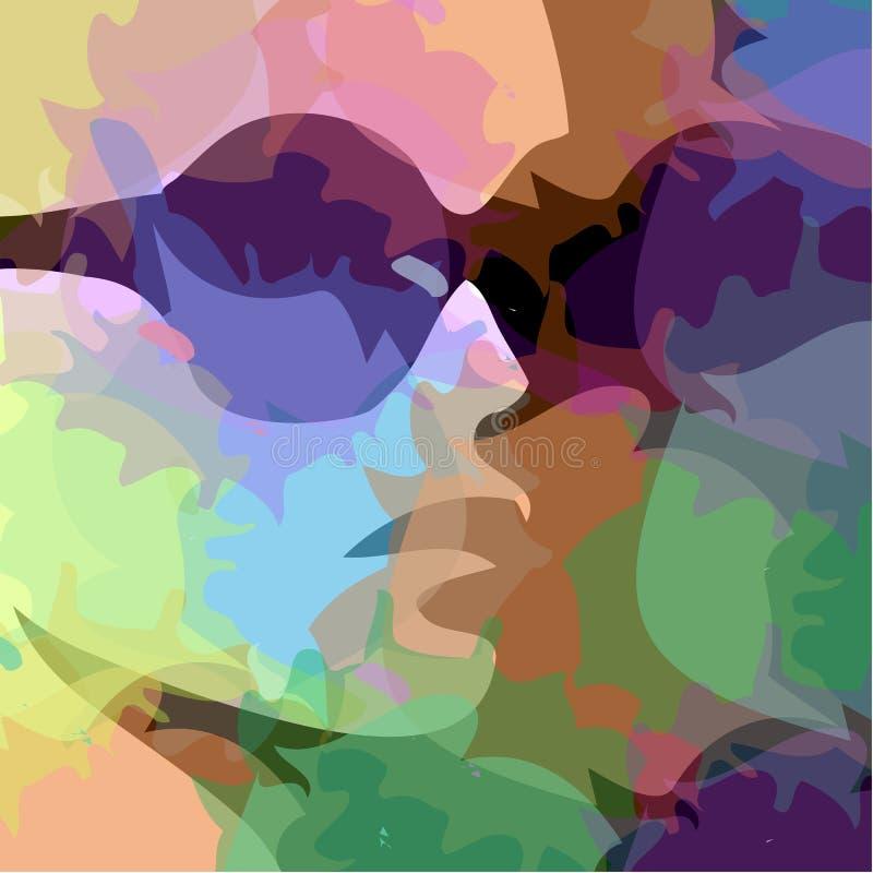 与脑子的女权妇女水彩画象侧视图秀丽 库存例证