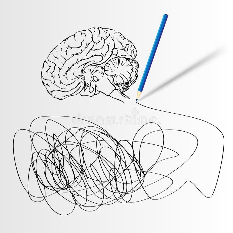 与脑子的抽象科学背景。 皇族释放例证