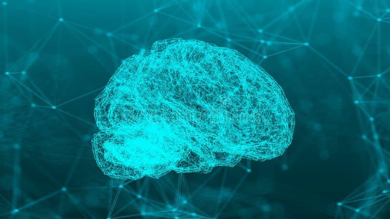 与脑子的抽象连接小点 库存例证