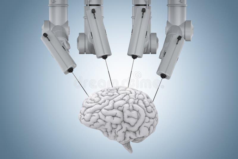 与脑子的机器人手术 库存照片