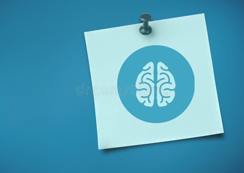 与脑子象的稠粘的笔记反对中立蓝色背景 向量例证