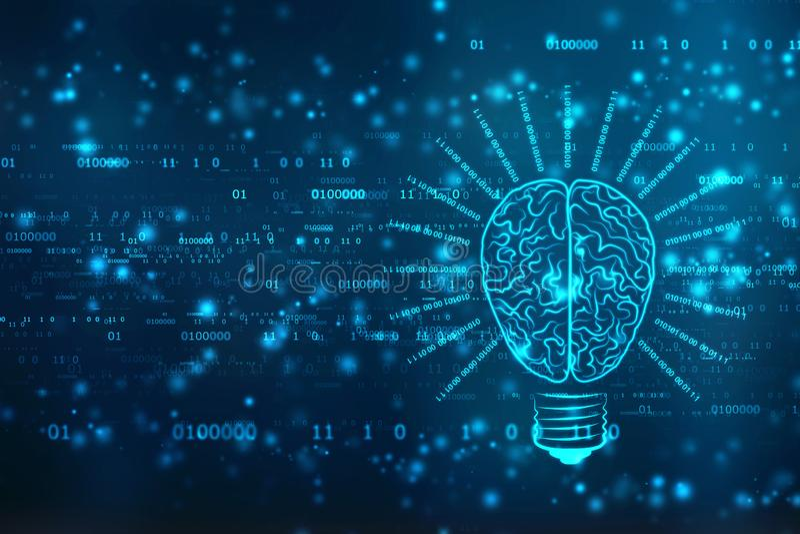 与脑子,创新背景,人工智能概念的电灯泡未来技术 皇族释放例证
