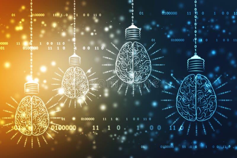 与脑子,创新背景,人工智能概念的电灯泡未来技术 免版税图库摄影
