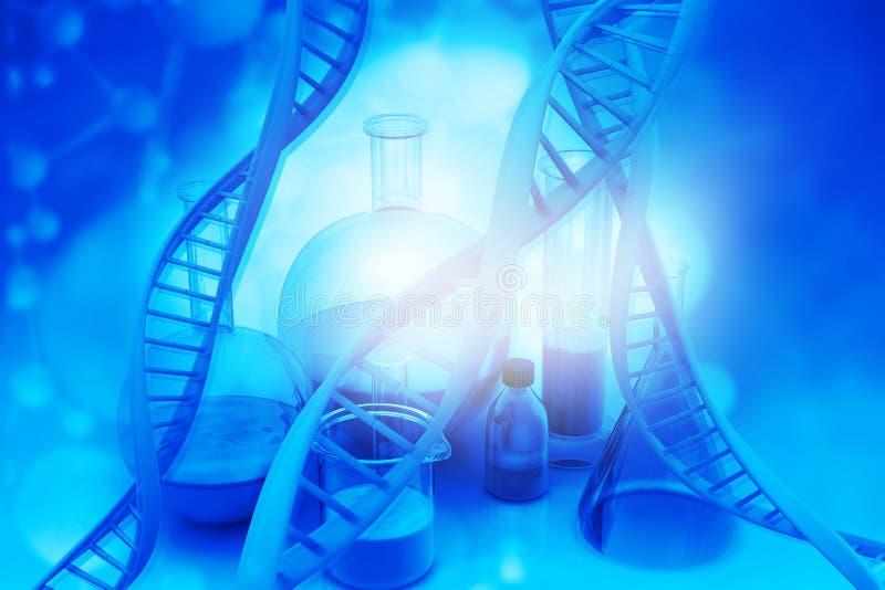 与脱氧核糖核酸的实验室玻璃器皿 向量例证