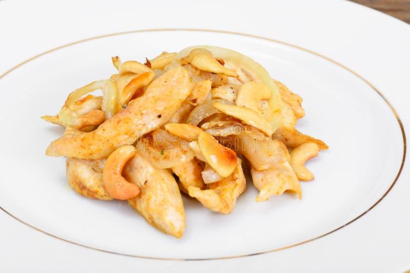 与腰果和酱油的鸡 亚洲烹调 免版税库存图片