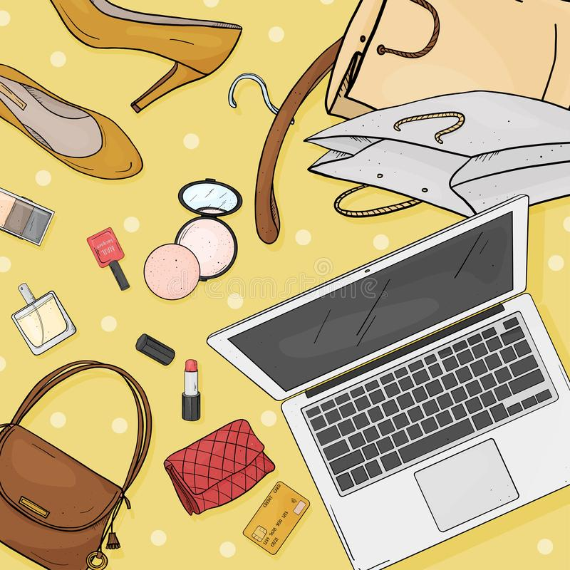 与膝上型计算机、书桌、袋子、信用卡、化妆用品和鞋子的网络商店桌面概念 信用卡支付 皇族释放例证