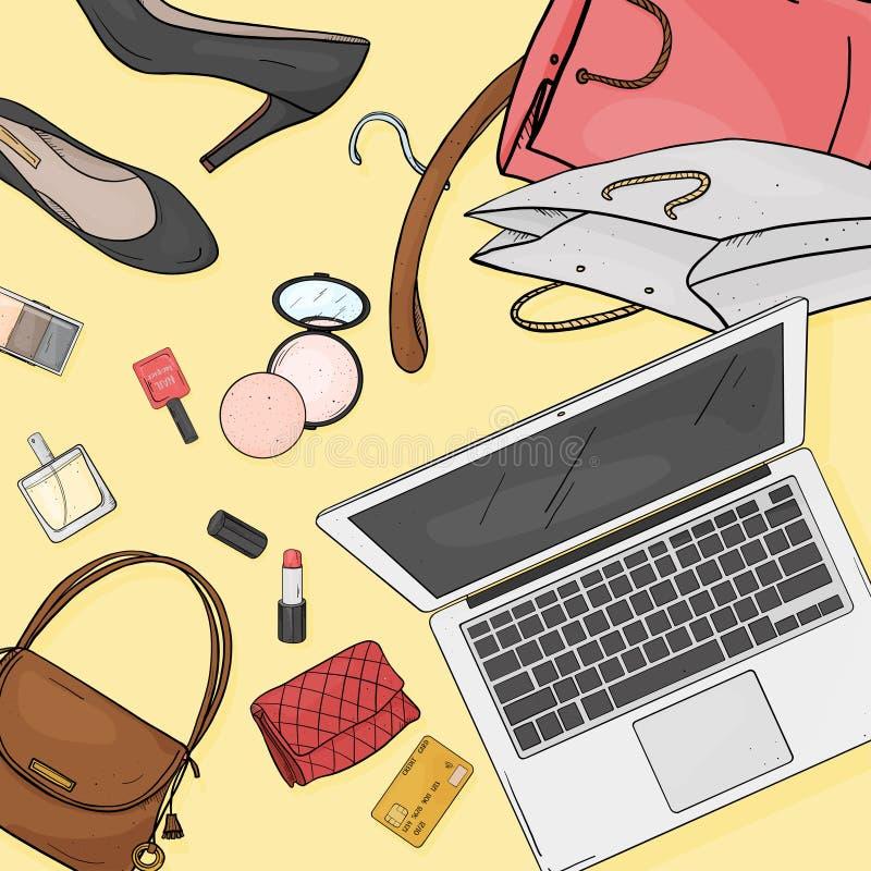 与膝上型计算机、书桌、袋子、信用卡、化妆用品和鞋子的网络商店桌面概念 信用卡支付 向量例证