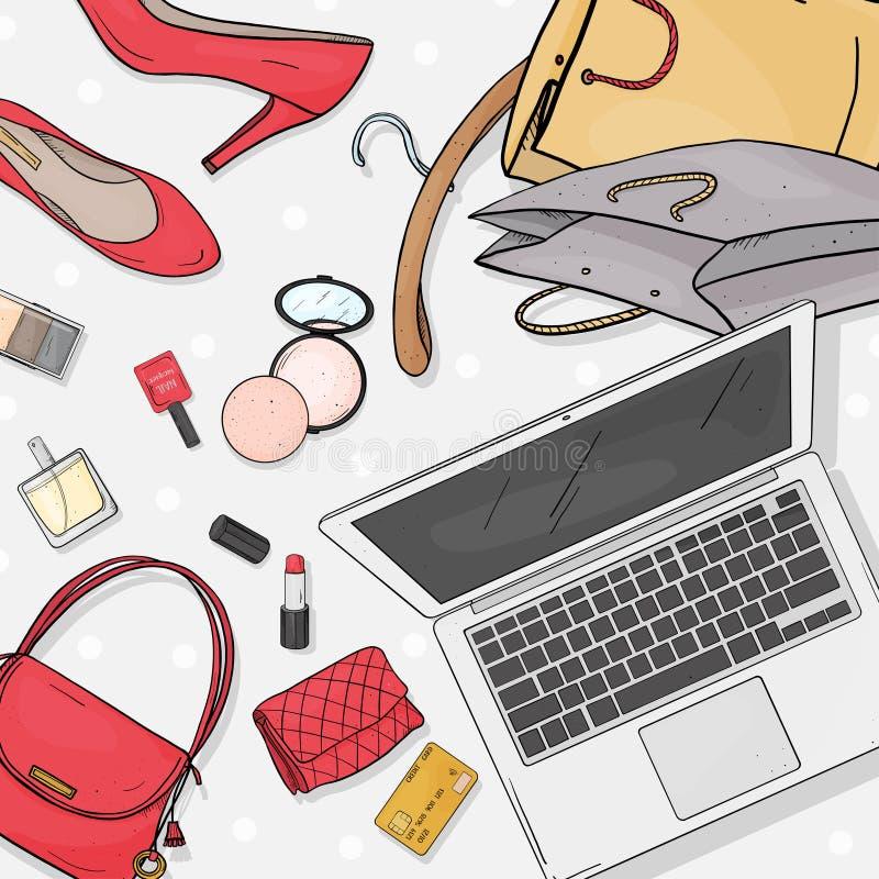 与膝上型计算机、书桌、袋子、信用卡、化妆用品和鞋子的网络商店桌面概念 信用卡支付 库存例证