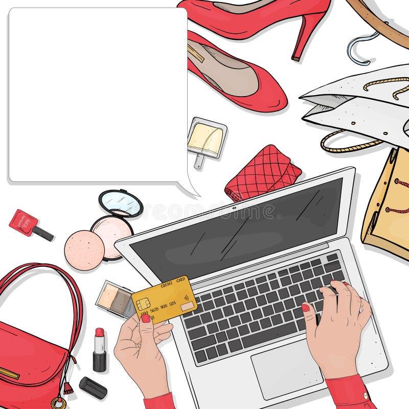 与膝上型计算机、化妆用品和鞋子的网络商店概念 有信用卡和膝上型计算机薪水的妇女的手购买的 皇族释放例证