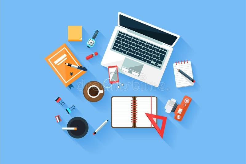 与膝上型计算机、日志、电话、照相机、另外文具和杯子的家或办公室现代工作场所顶视图概念  库存例证