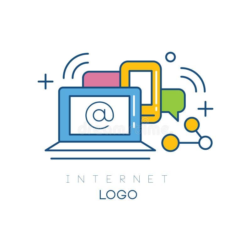 与膝上型计算机、智能手机和讲话的抽象商标设计起泡 互联网和现代技术 线性象与 皇族释放例证