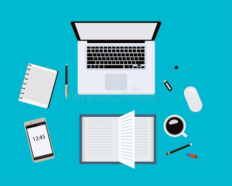 与膝上型计算机、老鼠、笔、智能手机和其他供应的现代蓝色办公桌桌与咖啡 空白笔记本页 工作 库存例证