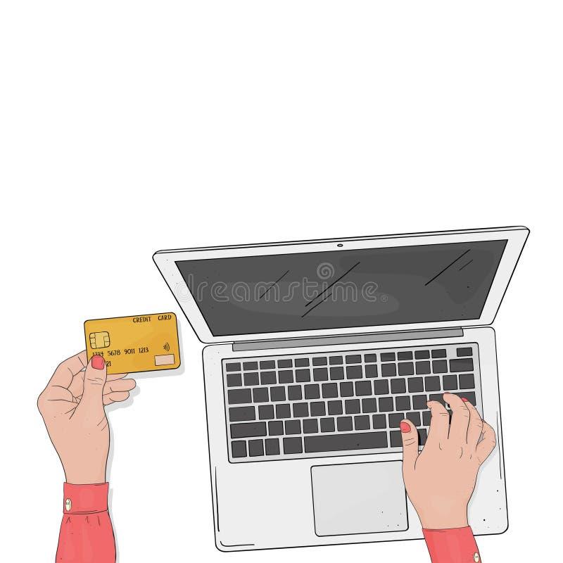 与膝上型计算机和信用卡的网络商店概念 妇女的手在网上支付购买 由信用卡的付款 的treadled 库存例证