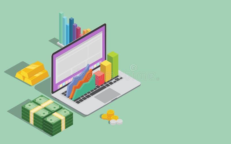 与膝上型计算机图表和金钱的网上企业技术与文本的空间 皇族释放例证