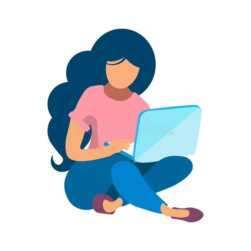 与膝上型计算机平的彩色插图的妇女工作 库存例证
