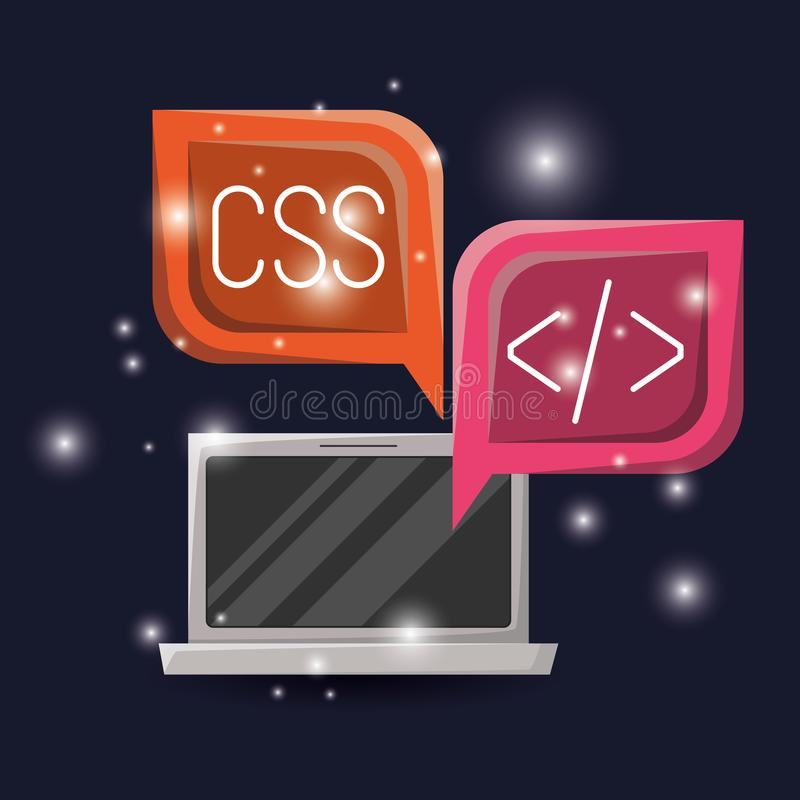 与膝上型计算机的亮光和对话框的蓝色黑暗的背景与网编程语言编码象 皇族释放例证