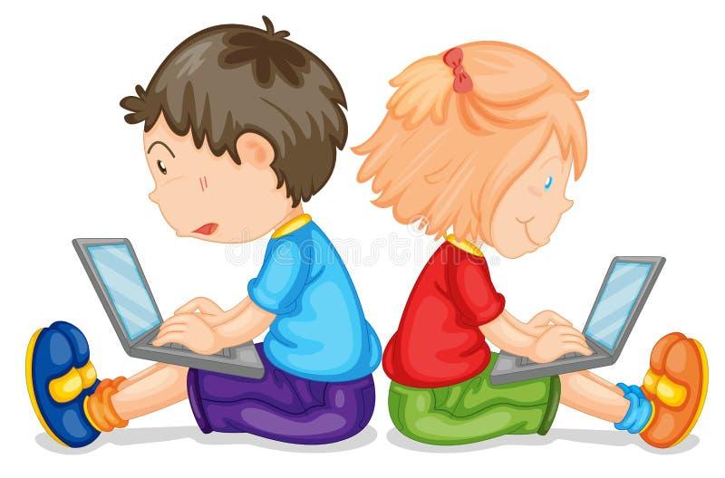 与膝上型计算机的孩子 向量例证