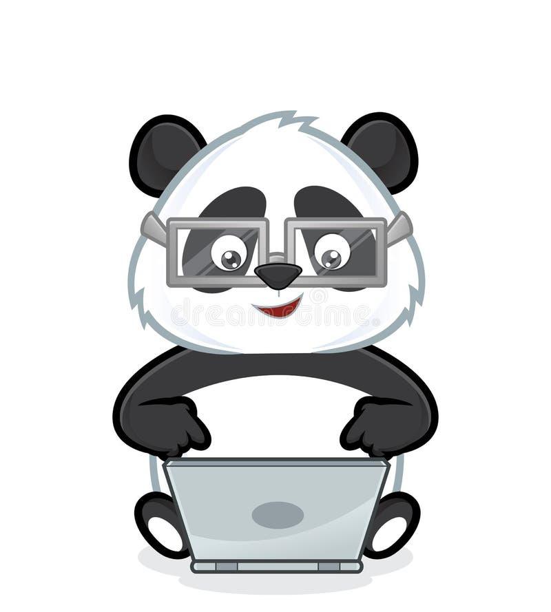 与膝上型计算机的熊猫 向量例证