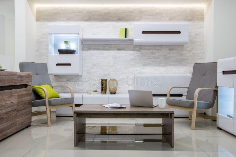 与膝上型计算机的现代客厅内部 图库摄影