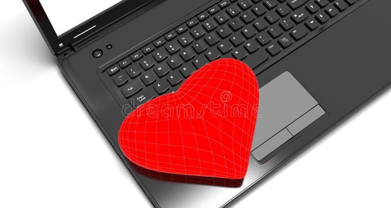与膝上型计算机的红色心脏 库存例证