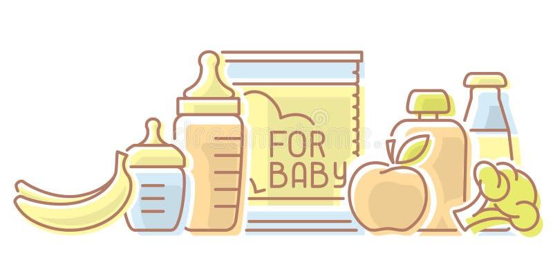 与膳食元素和乳瓶的婴儿食品卡片 向量例证