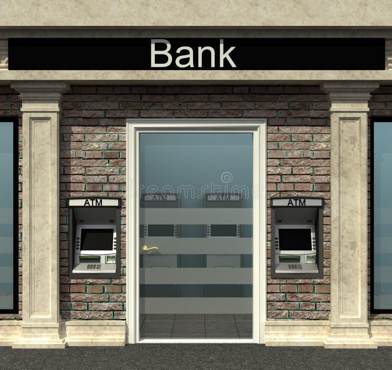 与自动出纳机的银行分行 库存例证