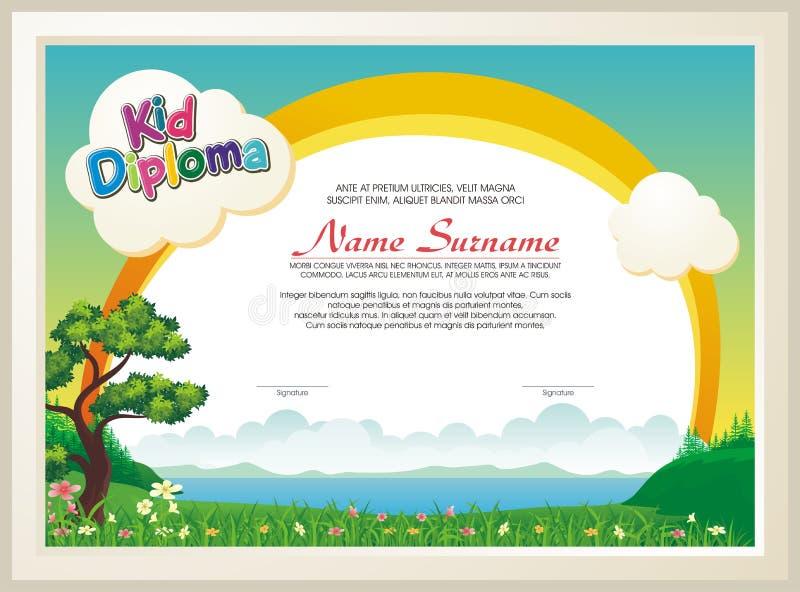 与自然风景的可爱的孩子文凭 向量例证