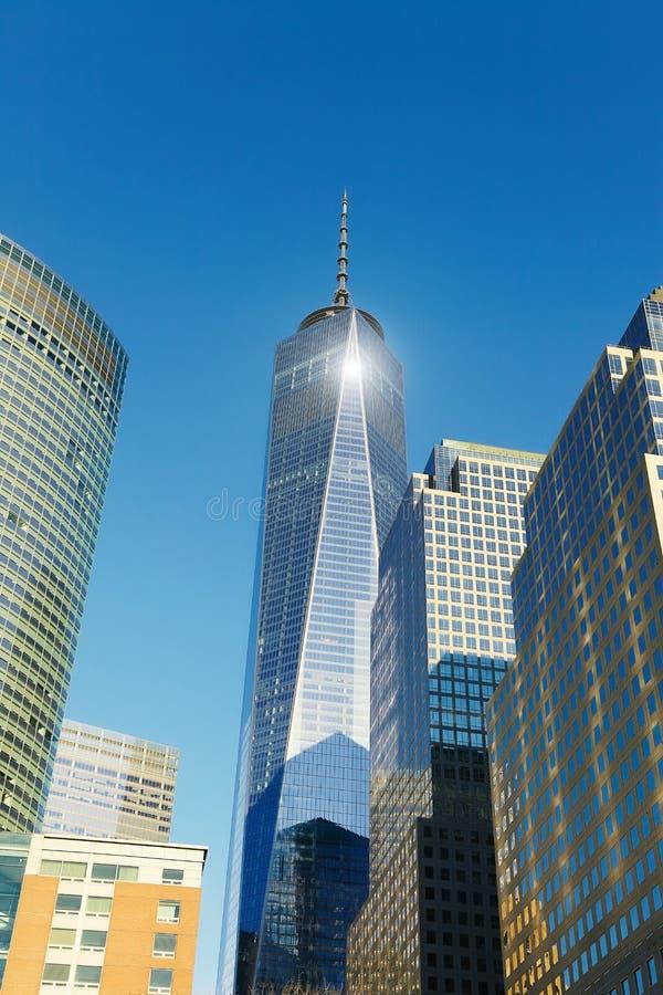 与自由塔,纽约的曼哈顿地平线 库存图片