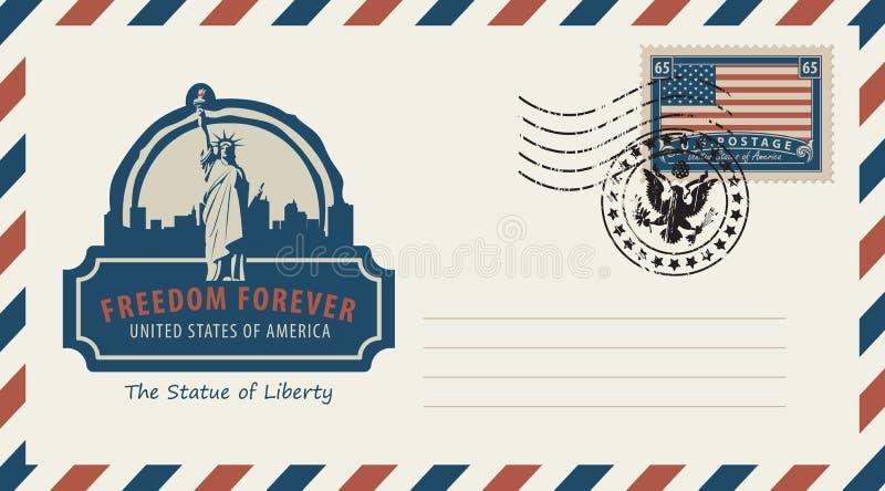 与自由女神像和美国国旗的信封 库存例证