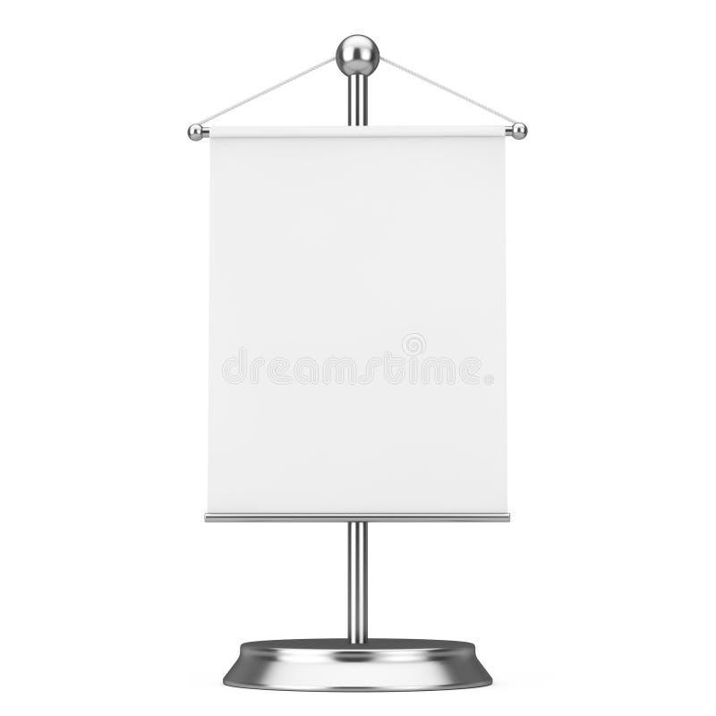 与自由空间的织品白色空白的旗子大模型你的设计 库存例证