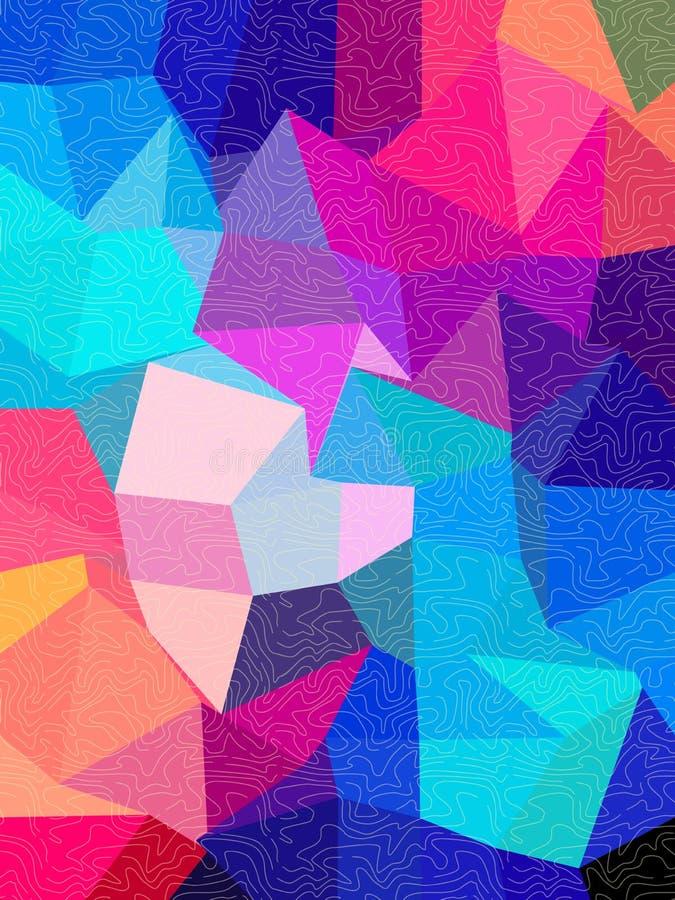 与自由线纹理的方形的背景 库存例证