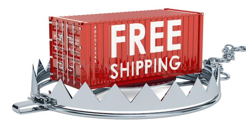 与自由运输货柜,3D的陷井翻译 皇族释放例证