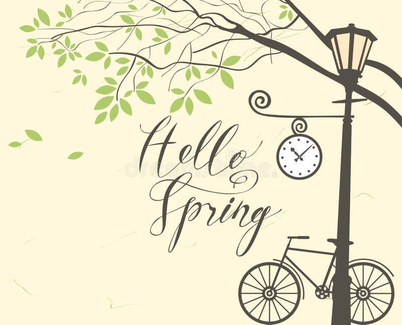 与自行车,树和路灯柱的春天风景 库存例证图片
