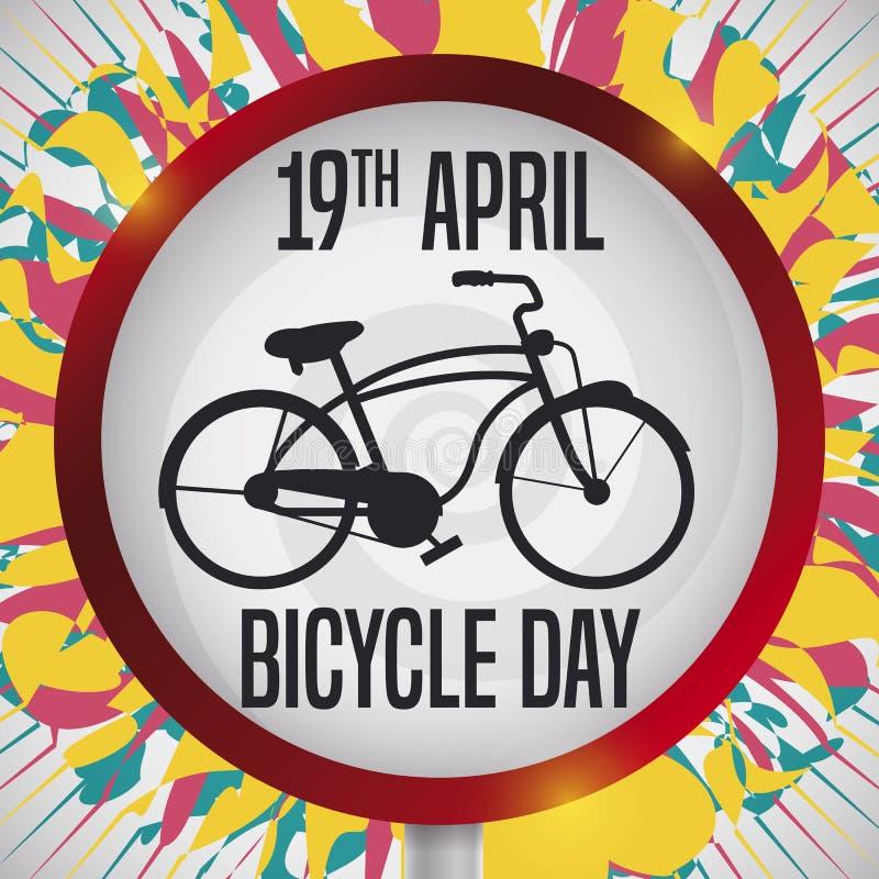 与自行车剪影的交通标志庆祝自行车天,传染媒介例证 皇族释放例证