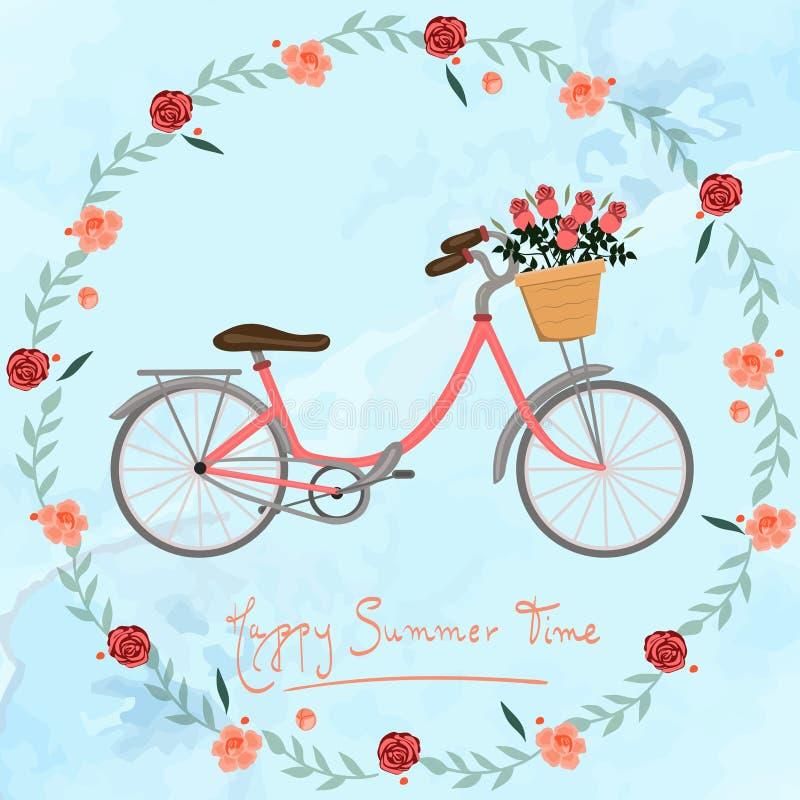 与自行车和花传染媒介图象的明信片愉快的夏时 库存例证