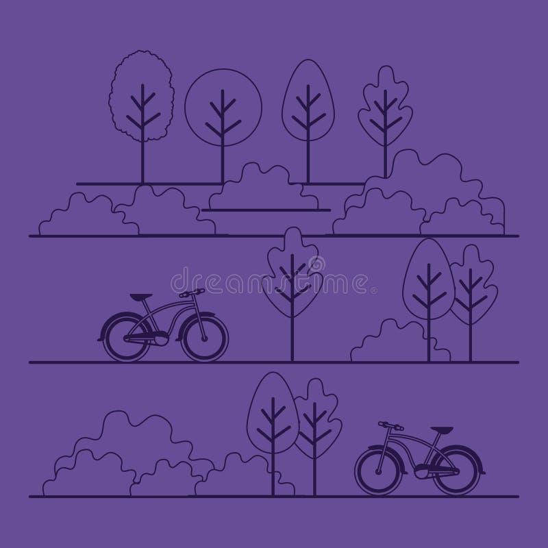 与自行车的公园场面 向量例证